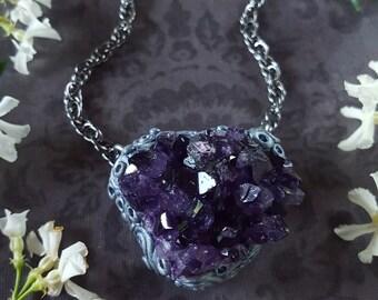 Amethyst Necklace - Amethyst Geode Necklace - Dark Purple Amethyst from Uruguay - Amethyst Necklace - Purple Uruguayan Amethyst - New Moon