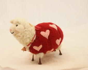 Sheep, Lammies in Red Pink Heart  Valentines Jammies, Needle Felted Sheep # 1505