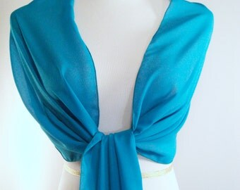Evening Wrap - Teal Blue - Shawl Scarf - Stole - Teal Blue One Shoulder Drape - Teal Blue Chiffon - Pashmina - Dressy Wrap - Extra Long