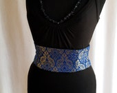 Blue and Gold Tapestry Mini Corset Obi  - Sash Waist Cincher Belt Made to Order