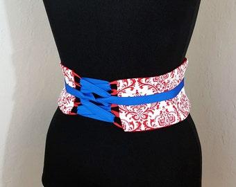 Red and White Damask Corset Mini Obi Waist Cincher Sash Any Size