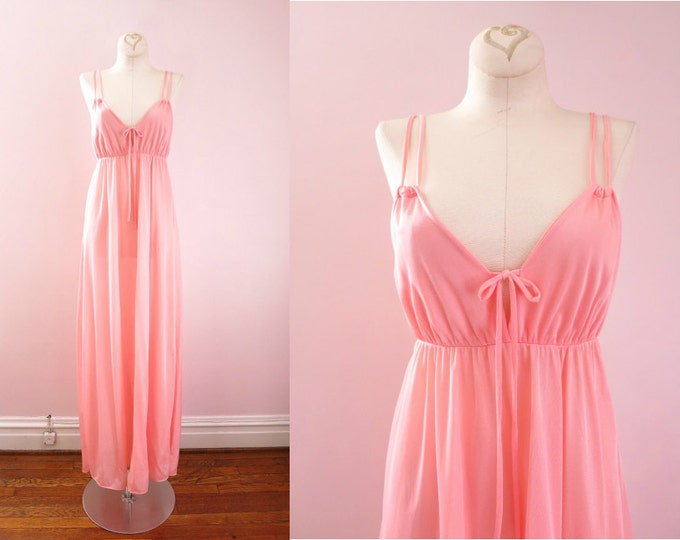 1970s Coral Pink Goddess Gown XS