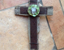 New Mexico Rustic Wall Cross with Clear Glass center encircled with pretty Green Desert Sea Glass Pieces Wall Cross