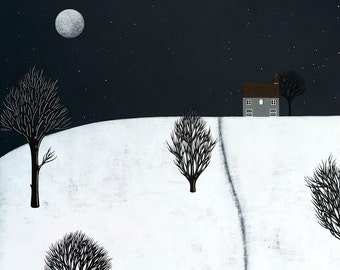 Night-time in Fen Meadow - Archival 8x8 Print - Winter Landscape Painting - Folk Art - Modern Nursery - by Natasha Newton