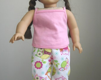 Made to Fit American Girl Dolls, Owl Pajamas and Pink Top fit American Girl Doll