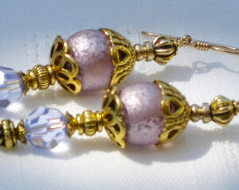 Violet and Gold Dangle Earrings