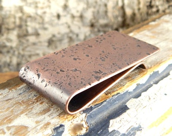 Perfect guy gift, copper money clip *crater finish* custom initials, personalized, simple money clip, engraved.