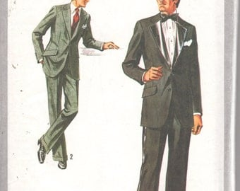 Simplicity 8846 1970s Mens Tuxedo Jacket and Pants Pattern James Bond Style Adult Formal Vintage Sewing Pattern Size Chest 40 OR 38