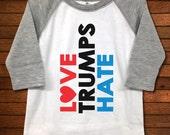 Love Trumps Hate Raglan Toddler Shirt - Funny Baby Gift