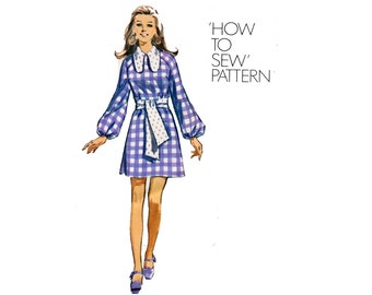 1970s Mini Dress Pattern Raglan Sleeves A Line Long Full Sleeves How To Sew Dog Ear Collar Simplicity 8920 Bust 36 Vintage Sewing Pattern