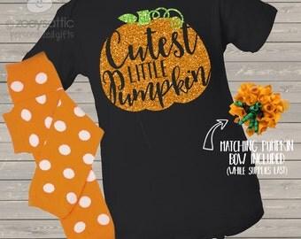 Baby's first Halloween cutest little pumpkin glitter DARK bodysuit and leg warmer matching set pumpkin orange and black GVCLPD