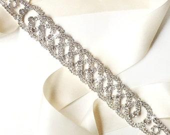 Chic Silver and Rhinestone Wedding Dress Sash - Rhinestone Encrusted Bridal Belt Sash - Crystal Extra Wide Wedding Belt - Long