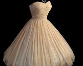 All sizes Custom Vintage 1950's 50s Style Ruched Chiffon Party Prom Strapless Dress... Deliciously offered in these Colors...
