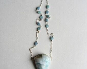 Light Blue Larimar and Amazonite Gemstone Necklace