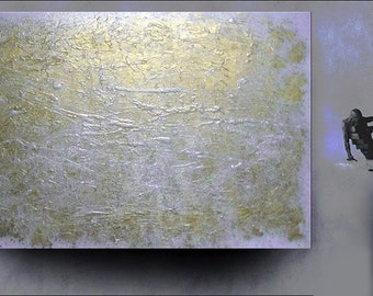Original ABSTRACT PAINTING contemporary modern art metallic silver gold on blue gray textured design fine art by Carol Lee  aka Leearte