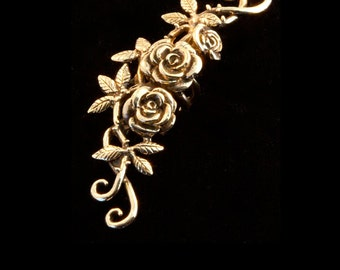 Flower Ear Cuff Floral Ear Cuff Rose Ear Cuff Bronze Rose Tendril Ear Cuff Rose Jewelry Flower Earring Rose Earring Flower Jewelry Rose Art