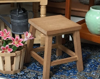 Miniature Wood Work Stool Dollhouse Miniature 1:12 Scale by Reutter Perfect for Dollhouse, Room Boxes, Dioramas, Crafts