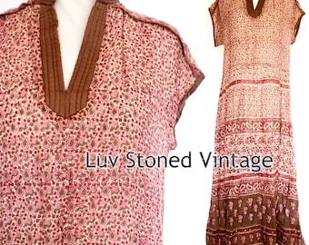 Vtg 70s Rare Starina Creation Paris Indian Boho Hippie Gauze Gypsy Festival Midi Dress . D125 . SM . 1223.8.7.16
