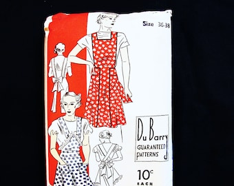 1930s Bib Apron Pattern Misses Size Bust 36 38 Vintage DuBarry Pattern 30s Full Apron Pattern Women
