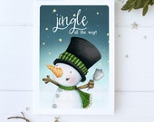 "greeting card - christmas -holiday - snowman - snowmen -  snow -snowy night - star  - ""Christmas bells are ringing!- No.2"""