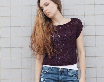 Hand knit  woman sweater loose knit coverup cropped sweater plum pullover crop top