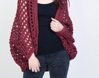 Hand Knit sweater Long cardigan burgundy sweater top wool sweater