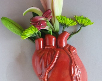 Human Heart Wall Vase - human heart vase, holds water for fresh flowers