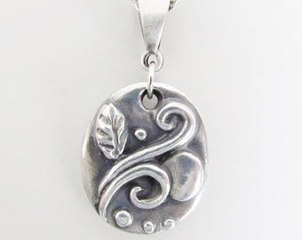 Handcrafted Fine Silver Pendant Necklace, .999 Silver Jewelry