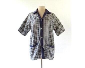 60s Men's Shirt | Beach Shirt | Blue Plaid Shirt Jacket | Surf Shirt | Medium M