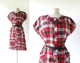 Plaid Cotton Dress / 1960s Dress / Red Plaid Dress / L XL
