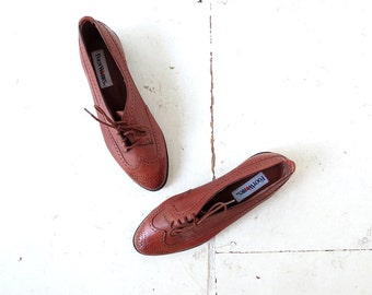 Vintage Brogues / Leather Oxfords / Oxford Shoes Women / Size 7 1/2