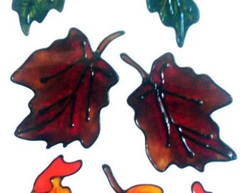 Autumn Leaves Window Cling Set (D)