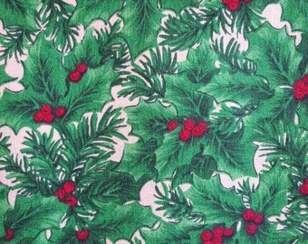 XM037 ~ Christmas fabric Green holly Red berries