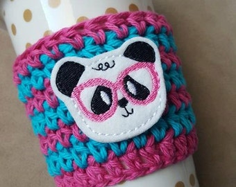 Crochet coffee mug cozy { Nerdy Panda } coffee sleeve, teacher gift, coffee lover stocking stuffer, knit mug sweater