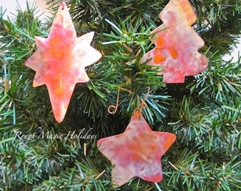 Set of 3 Large Copper Christmas Ornaments, Rustic Decorations, Star of Bethlehem, Advent Christmas Star, Evergreen Xmas Tree, Holiday Decor