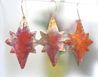 3 Large Stars of Bethlehem, Copper Christmas Ornaments, Set of 3 Metal Xmas Ornaments, Holiday Decorations