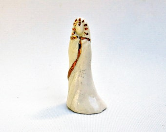 Ring Cone Lady Figurine Handmade Tiny Abstract White One of a Kind Miniature Ceramic Egyptian Goddess Sculpture Metallic 22k Gold Luster