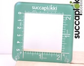 Silmuccaruutu -Knitting Gauge Checker, Turquoise knitting tool with two scales, precise square made out of recycled plastic