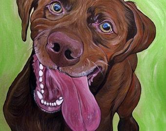 Custom Pet Portrait 16x16inch Original Painting  Acrylic Painting Gift Dog Portrait