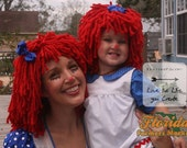 Any Size Crocheted Red Yarn Wig Handmade with Fat Quality Red Yarn, Inspired by Raggedy Ann