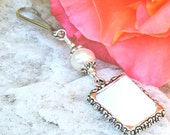 Wedding bouquet photo charm with Freshwater pearl. Memorial photo charm for a bride's bouquet.