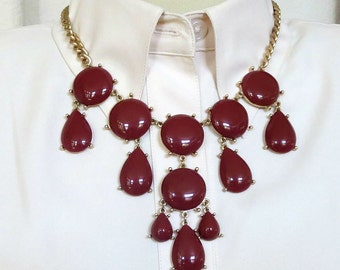 Dangle Bib Necklace Red Brown Lucite Cabochons Vintage