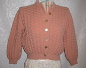 Sweet Peach Cropped Cardigan Sweater Size Small Vintage 60s
