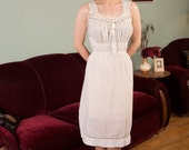 Vintage 1950s Nightgown - Ethereal Pale Blue Sheer Cotton 50s Nightgown with Lace Trim and Gathered Bust