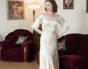 Vintage 1930s Wedding Dress - Gleaming Ivory Rayon Satin Bias Cut 30s Bridal Dress with Cut Out Juliet Sleeves