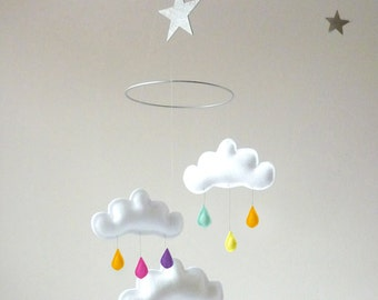 """Rainbow cloud mobile for Nursery """"RAINBOW SILVER STAR"""" with silver star by The Butter Flying"""