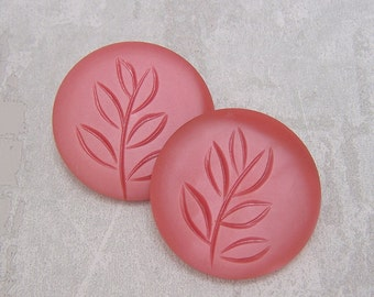 ENORMOUS Pink Buttons 39mm - 1 1/2 inch Carved Leaf Strawberry Pink Vintage Buttons - PAiR VTG NOS Marbled Satin Pink Plastic Buttons PL032