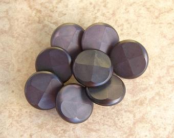 Brown Plastic Vintage Buttons 17mm - 5/8 inch Dark Mauve Brown Shank Buttons - 8 VTG NOS Retro Mod Cross Quarter Flower Sewing Buttons PL025