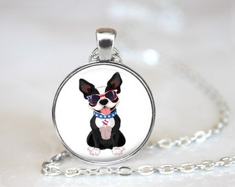 Patriotic Boston Terrier Changeable Magnetic Pendant Necklace and Paw Print Organza Bag