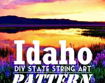 "Idaho - DIY State String Art Pattern - 10.5"" x 6.5"" - Hearts & Stars included"